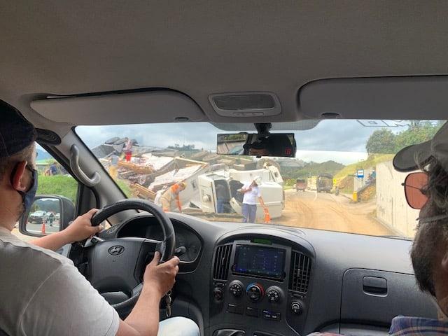Lockdown Cartagena Unfall Autobahn Richtung Bogota